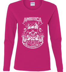 America. 2nd Amendment Patriots. White Print. Women's: Gildan Ladies Cotton Long Sleeve Shirt.