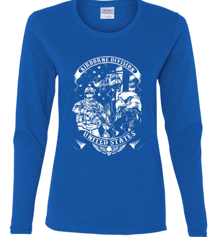 Airborne Division. United States. White Print. Women's: Gildan Ladies Cotton Long Sleeve Shirt.