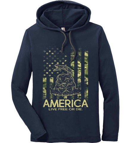 America. Live Free or Die. Don't Tread on Me. Camo. Anvil Long Sleeve T-Shirt Hoodie.