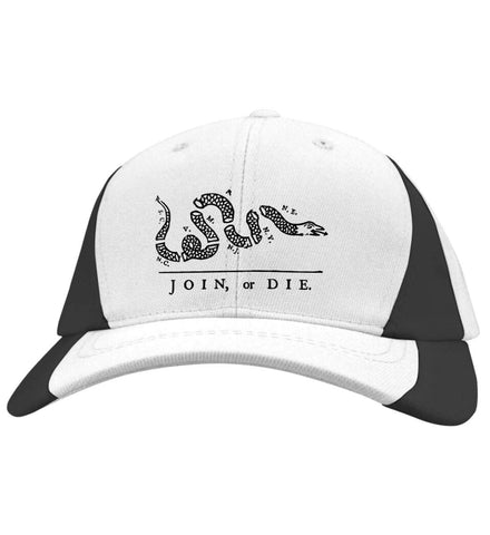 Join or Die Black Design Cap. Sport-Tek Mid-Profile Colorblock Cap. (Embroidered)