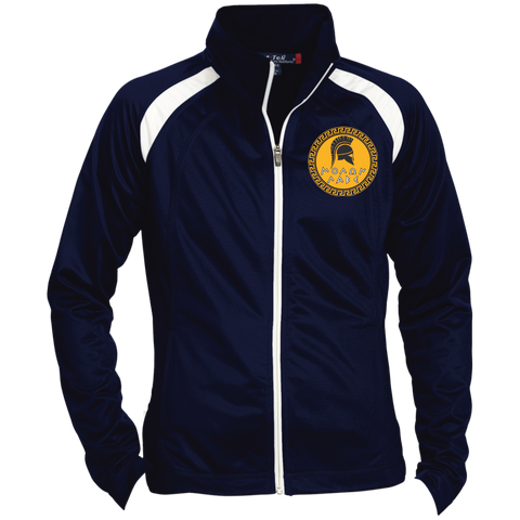 Molon Labe. Spartan Helmet. Yellow/Black. Women's: Sport-Tek Ladies' Raglan Sleeve Warmup Jacket. (Embroidered)