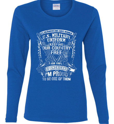 7% of Americans Have Worn a Military Uniform. I am proud to be one of them. White Print. Women's: Gildan Ladies Cotton Long Sleeve Shirt.