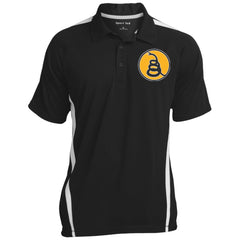 Don't Tread on Me Rattlesnake. Yellow/Black. Sport-Tek Men's Colorblock 3-Button Polo. (Embroidered)