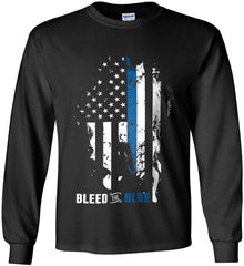 Bleed the Blue. Grungy Blue Line Flag. Gildan Ultra Cotton Long Sleeve Shirt.