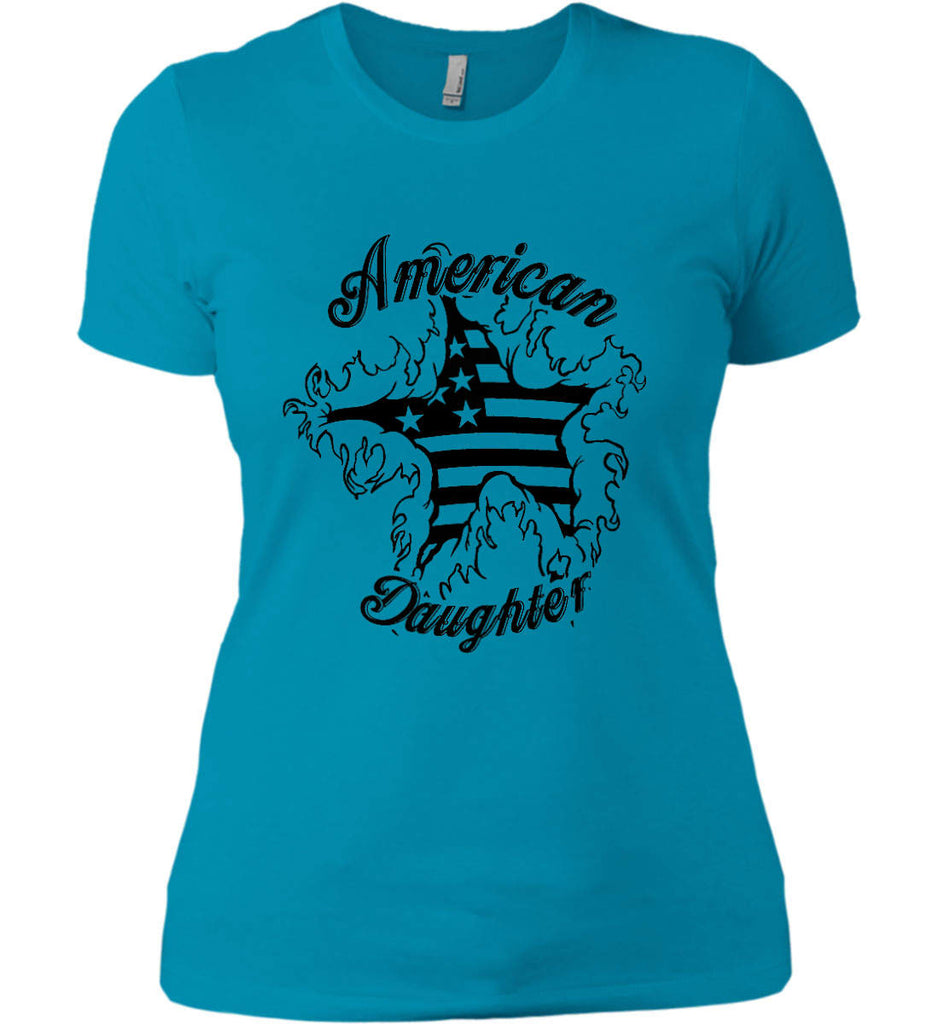 American Daughter. Women's Patriot Design. Women's: Next Level Ladies' Boyfriend (Girly) T-Shirt.-10