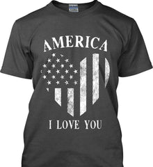 America I Love You White Print. Gildan Ultra Cotton T-Shirt.