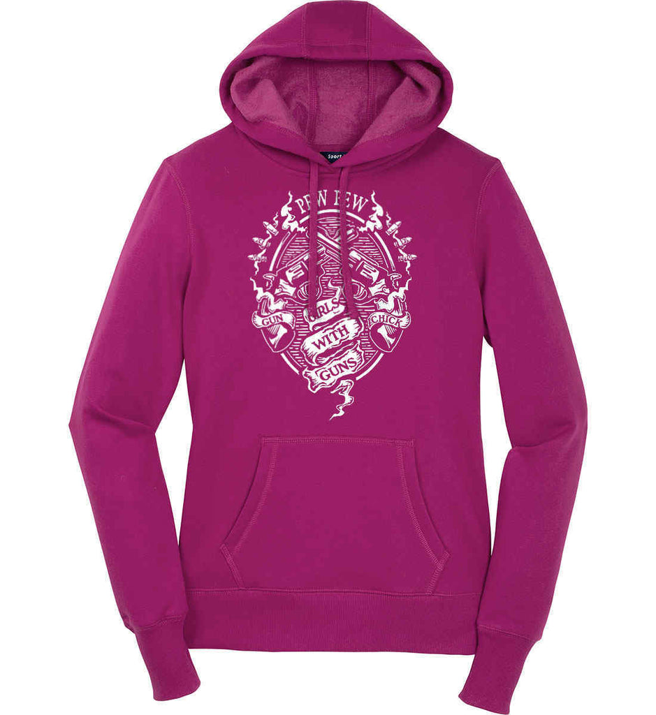Pew Pew. Girls with Guns. Gun Chick. Women's: Sport-Tek Ladies Pullover Hooded Sweatshirt.-1
