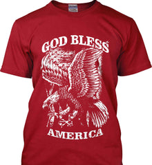 God Bless America. Eagle on Flag. White Print. Gildan Tall Ultra Cotton T-Shirt.