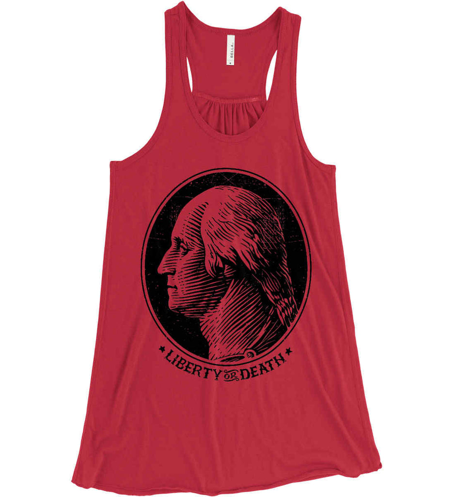 George Washington Liberty or Death. Black Print Women's: Bella + Canvas Flowy Racerback Tank.-8