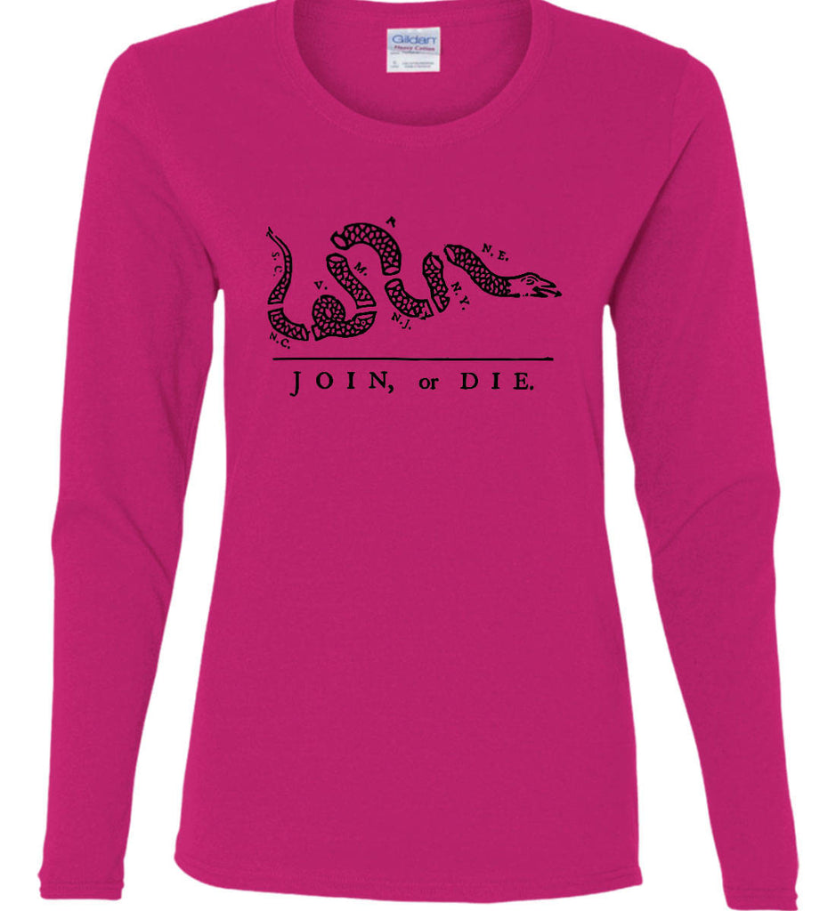 Join or Die. Black Print. Women's: Gildan Ladies Cotton Long Sleeve Shirt.-4