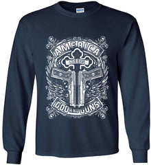 America Needs God and Guns. White Print. Gildan Ultra Cotton Long Sleeve Shirt.