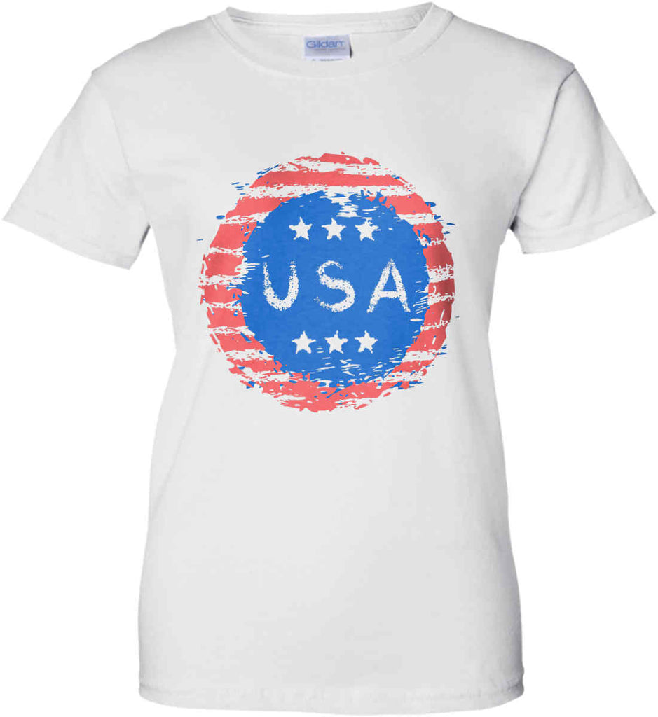 Grungy USA. Women's: Gildan Ladies' 100% Cotton T-Shirt.-2