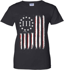 Three Percent on American Flag. Women's: Gildan Ladies' 100% Cotton T-Shirt.