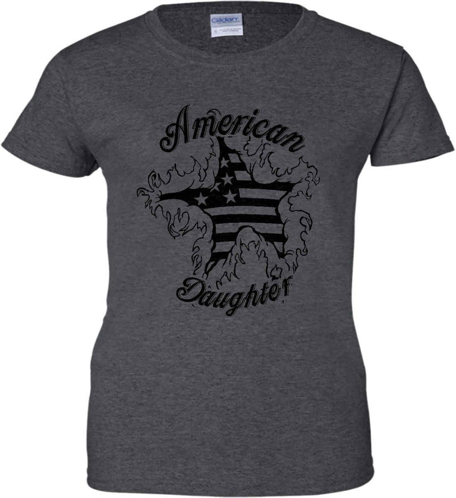 American Daughter. Women's Patriot Design. Women's: Gildan Ladies' 100% Cotton T-Shirt.-6