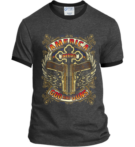 America Needs God and Guns. Port and Company Ringer Tee.