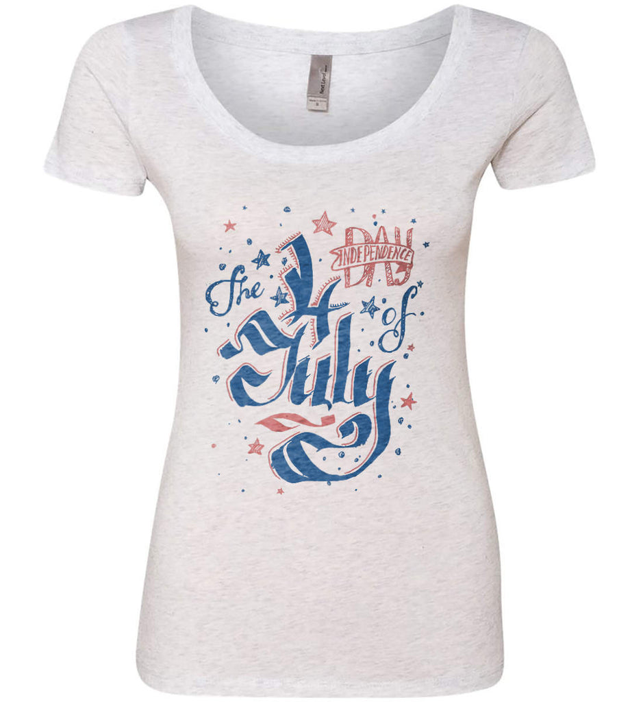 The 4th of July. Ribbon Script. Women's: Next Level Ladies' Triblend Scoop.-1
