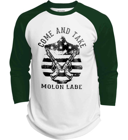 Come and Take. Molon Labe. Guns on Shield. Black Print. Sport-Tek Polyester Game Baseball Jersey.