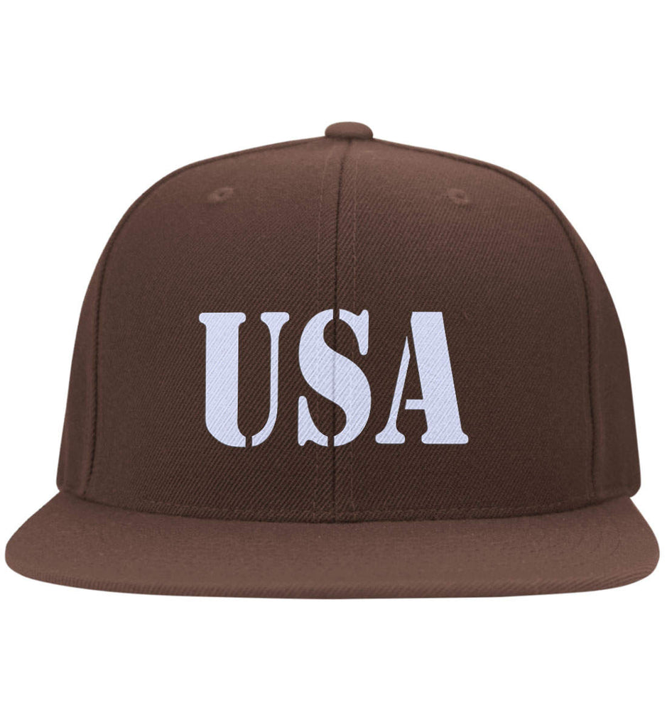 USA Patriot Hat Yupoong Flat Bill Twill Flexfit Cap. (Embroidered)-3