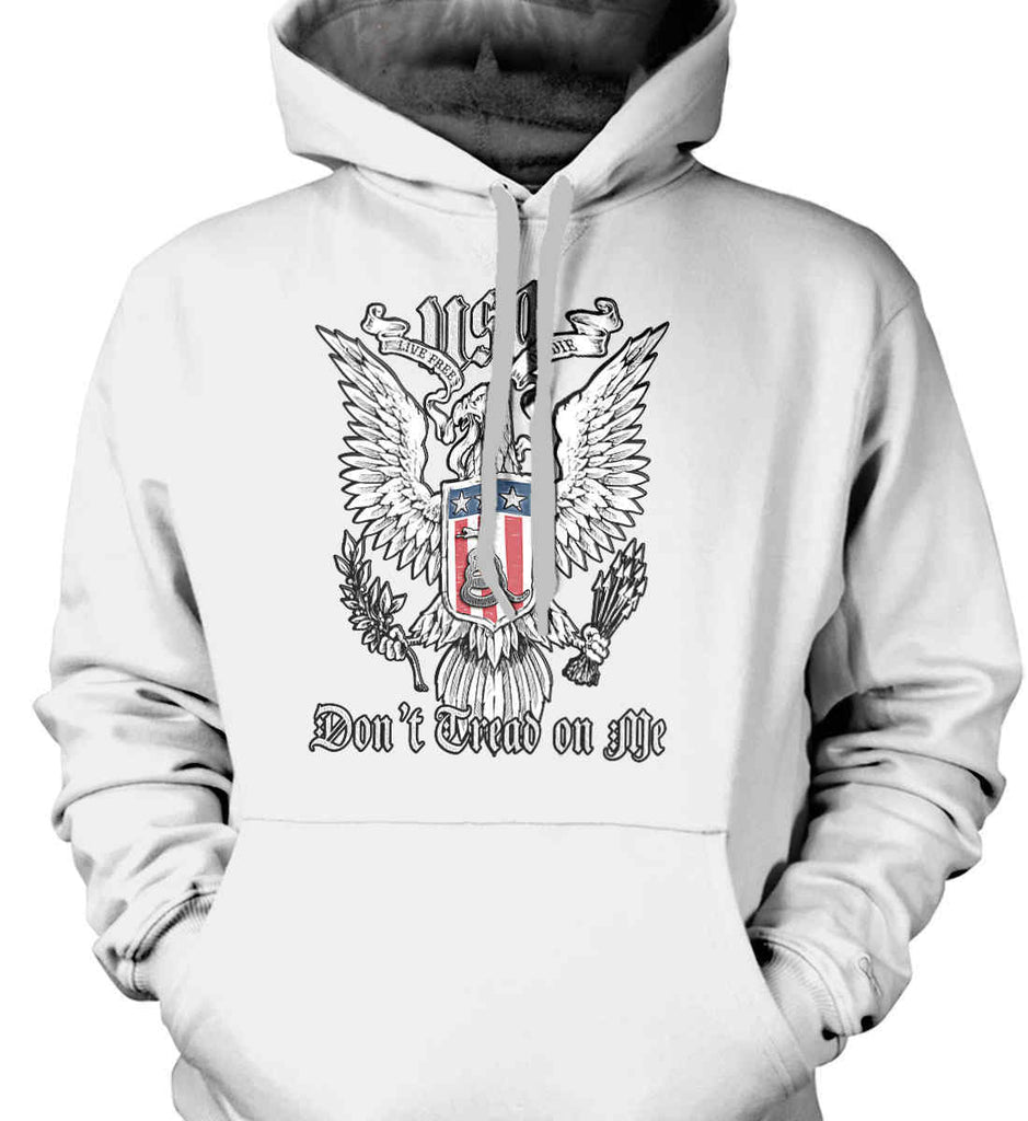 Don't Tread on Me. Eagle with Shield and Rattlesnake. Gildan Heavyweight Pullover Fleece Sweatshirt.-2