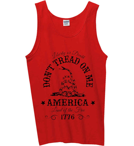 Don't Tread on Me. Liberty or Death. Land of the Free. Black Print. Gildan 100% Cotton Tank Top.
