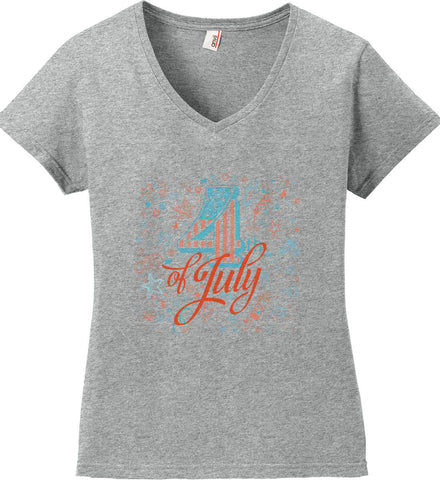 4th of July. Stars and Rockets. Women's: Anvil Ladies' V-Neck T-Shirt.
