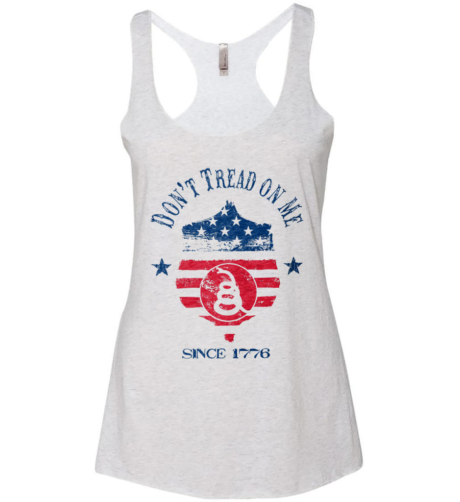 Don't Tread on Me. Snake on Shield. Red, White and Blue. Women's: Next Level Ladies Ideal Racerback Tank.-2