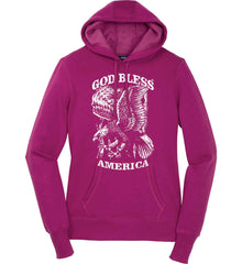 God Bless America. Eagle on Flag. White Print. Women's: Sport-Tek Ladies Pullover Hooded Sweatshirt.
