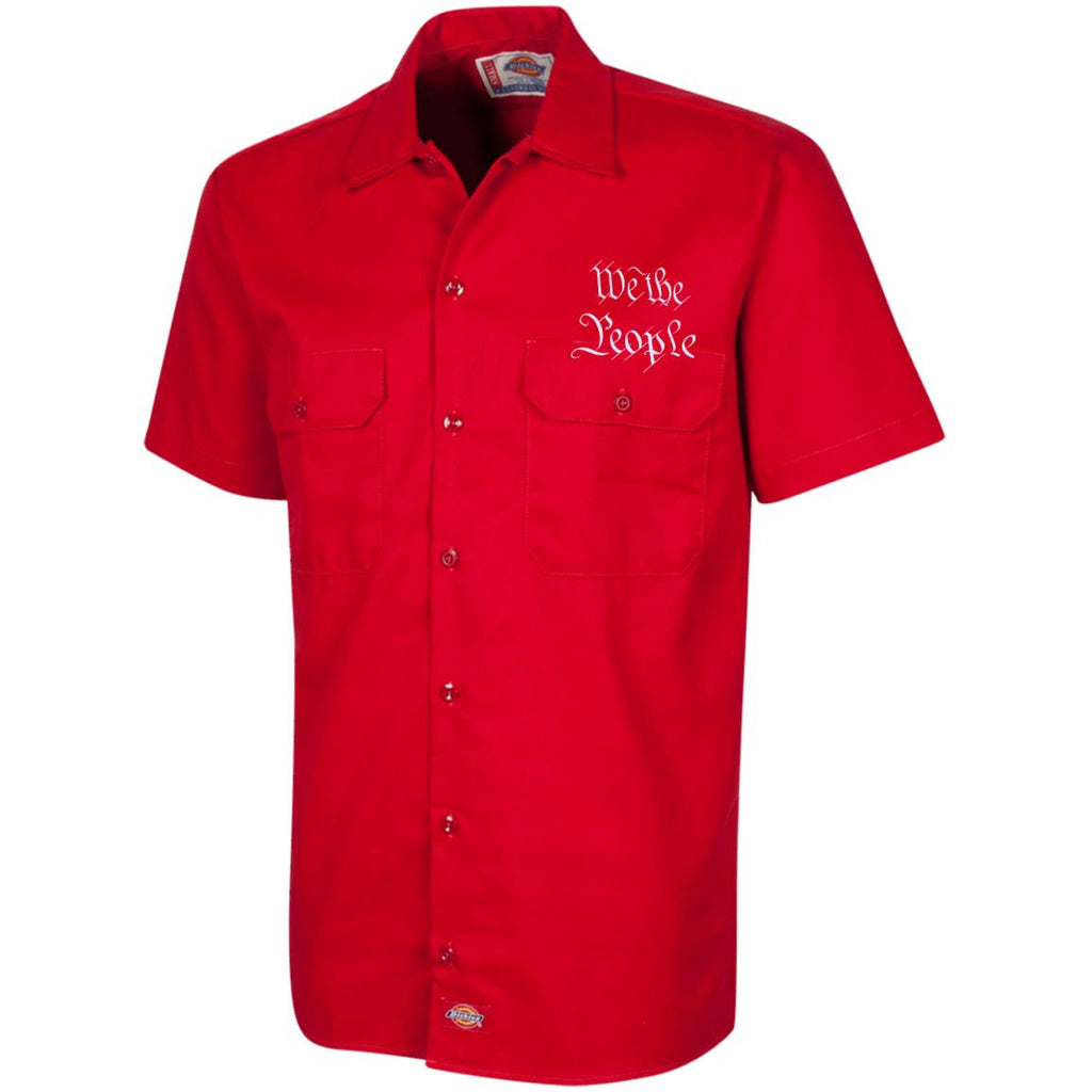 We the People. White Text. Dickies Men's Short Sleeve Workshirt. (Embroidered)-4