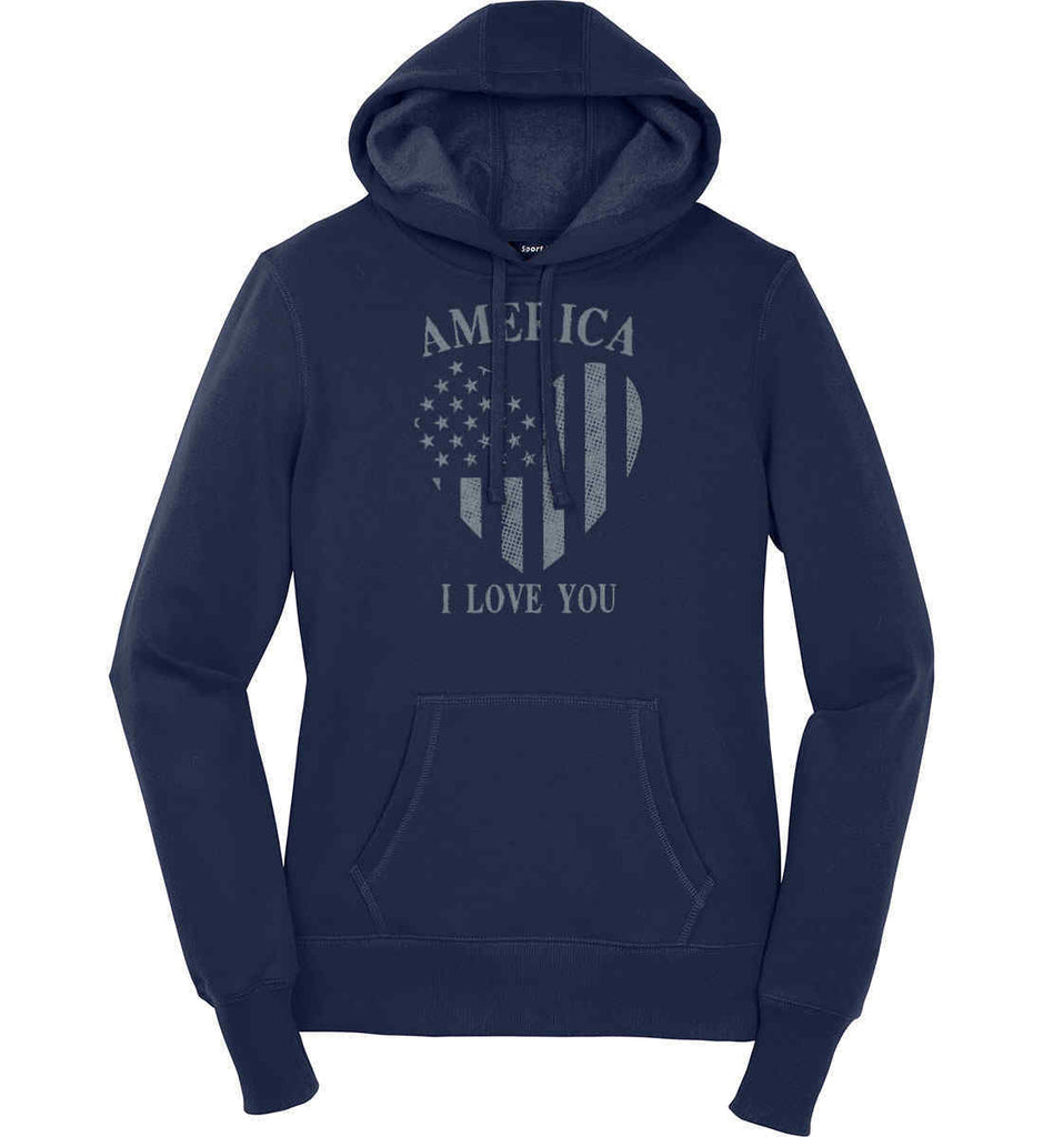 America I Love You Women's: Sport-Tek Ladies Pullover Hooded Sweatshirt.-3
