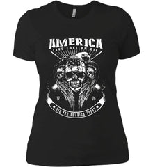 Did you America Today. 1776. Live Free or Die. Skull. White Print. Women's: Next Level Ladies' Boyfriend (Girly) T-Shirt.