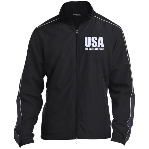 USA. All Day. Everyday. White Text. Sport-Tek Colorblock Windbreaker. (Embroidered)