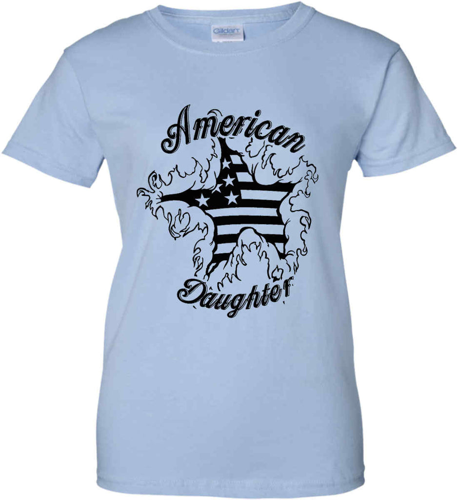 American Daughter. Women's Patriot Design. Women's: Gildan Ladies' 100% Cotton T-Shirt.-11