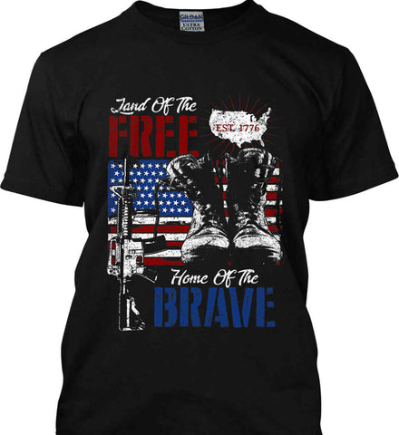 Land Of The Free. Home Of The Brave. 1776. Gildan Ultra Cotton T-Shirt.