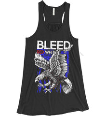BLEED Red, White & Blue. Eagle on Flag. Women's: Bella + Canvas Flowy Racerback Tank.