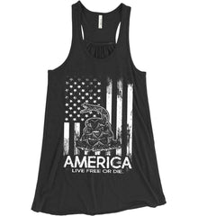 America. Live Free or Die. Don't Tread on Me. White Print. Women's: Bella + Canvas Flowy Racerback Tank.