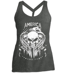 America. Punisher Skull and Bones. Since 1776. White Print. Women's: District Made Ladies Cosmic Twist Back Tank.