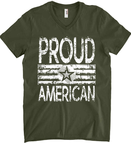 Proud American. Loud and Proud. White Print. Anvil Men's Printed V-Neck T-Shirt.