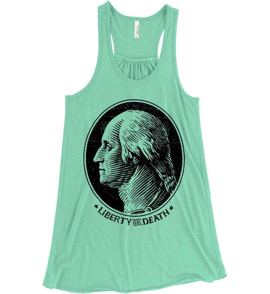 George Washington Liberty or Death. Black Print Women's: Bella + Canvas Flowy Racerback Tank.-5