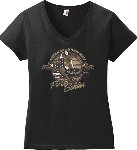 American Bombshell. Women's: Anvil Ladies' V-Neck T-Shirt.