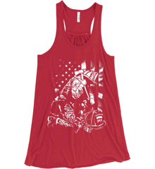 Thin Red Line. Kneeling Firefighter Ax. White Print. Women's: Bella + Canvas Flowy Racerback Tank.
