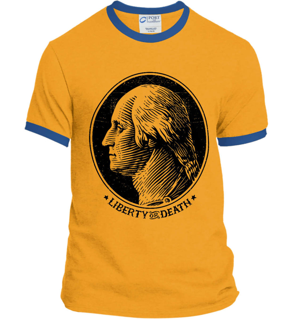 George Washington Liberty or Death. Black Print Port and Company Ringer Tee.-5