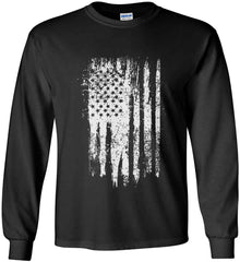 Grungy Grey USA Flag Gildan Ultra Cotton Long Sleeve Shirt.