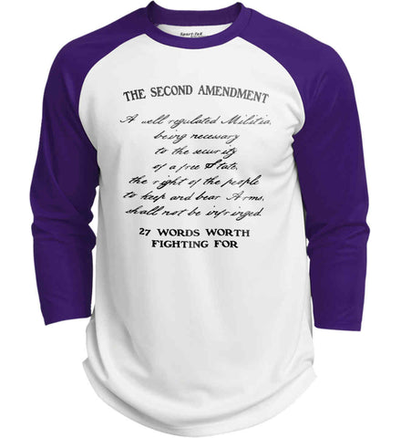 The Second Amendment. 27 Words Worth Fighting For. Second Amendment. Black Print. Sport-Tek Polyester Game Baseball Jersey.
