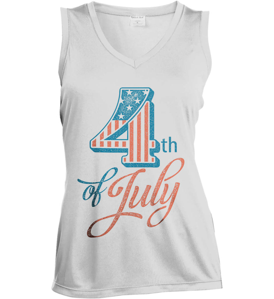 4th of July. Faded Grunge. Women's: Sport-Tek Ladies' Sleeveless Moisture Absorbing V-Neck.-1