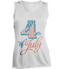 4th of July. Faded Grunge. Women's: Sport-Tek Ladies' Sleeveless Moisture Absorbing V-Neck.