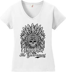 Skeleton Indian. Never Trust the Government. Women's: Anvil Ladies' V-Neck T-Shirt.
