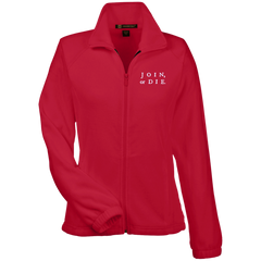 Join Or Die. White Text. Women's: Harriton Women's Fleece Jacket. (Embroidered)