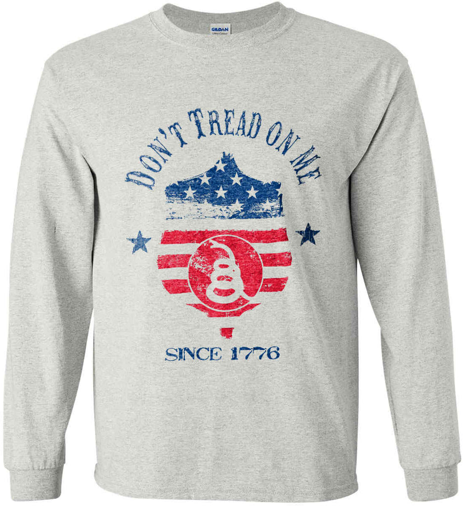 Don't Tread on Me. Snake on Shield. Red, White and Blue. Gildan Ultra Cotton Long Sleeve Shirt.-3