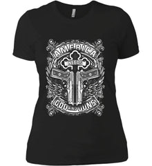 America Needs God and Guns. White Print. Women's: Next Level Ladies' Boyfriend (Girly) T-Shirt.