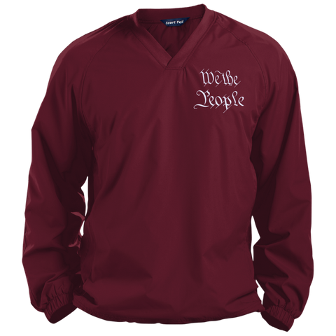 We the People. White Text. Sport-Tek Pullover V-Neck Windshirt. (Embroidered)